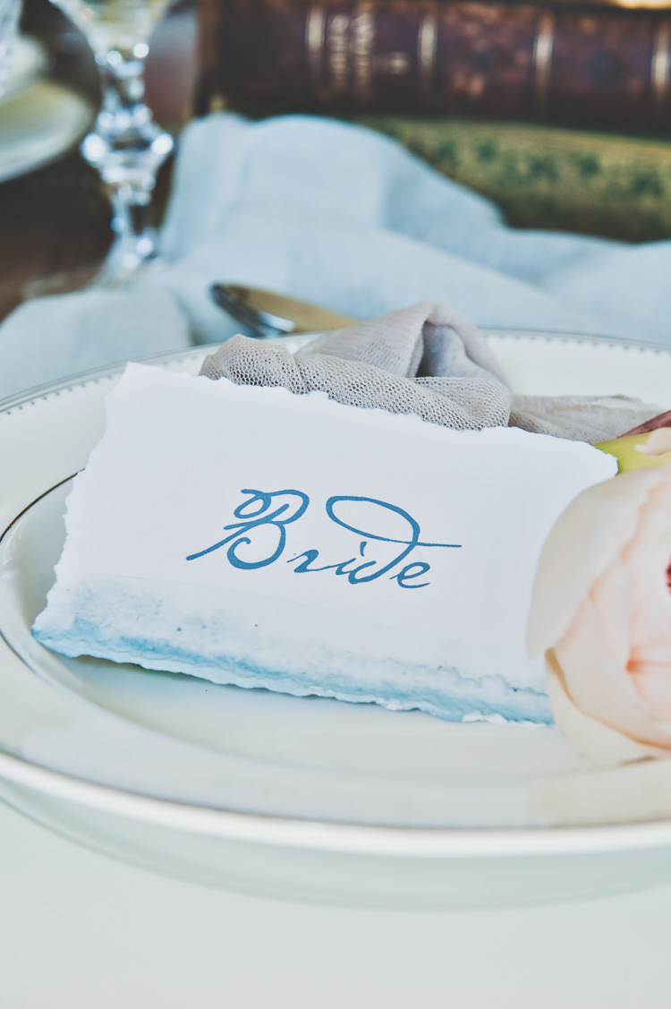 Watercolour Calligraphy Paper Place Name Card Thoroughly Modern Cecilia Atonement Glamorous 1940s Wedding Ideas http://ikonworks.co.uk/