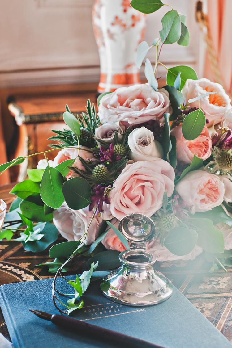 Pink Rose Thistle Flowers Decor Thoroughly Modern Cecilia Atonement Glamorous 1940s Wedding Ideas http://ikonworks.co.uk/