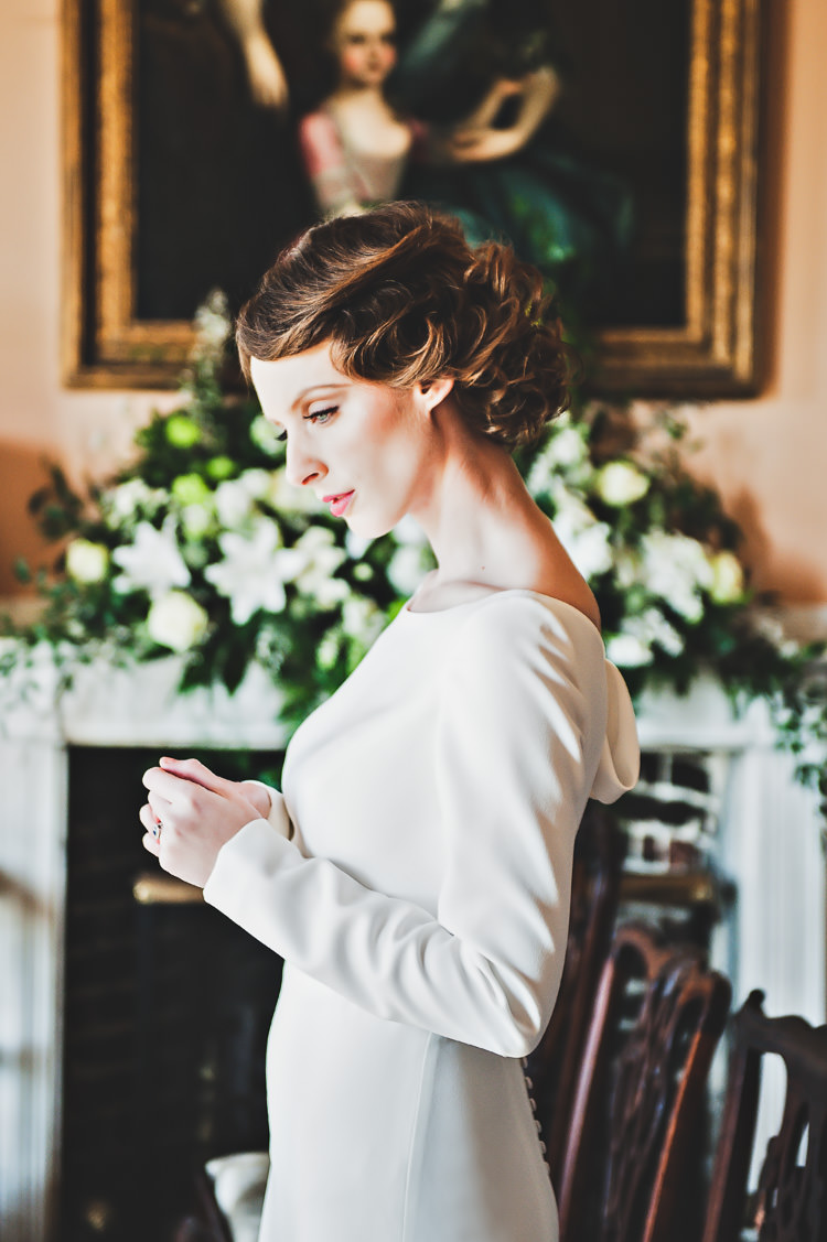 Bride Bridal Gown Long Sleeves Thoroughly Modern Cecilia Atonement Glamorous 1940s Wedding Ideas http://ikonworks.co.uk/