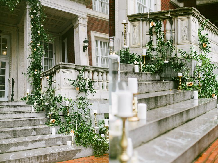 Steps Aisle Candles Gold Greenery Modern Elegance Marble Greenery Gold Wedding Ideas http://www.jettwalkerphotography.com/