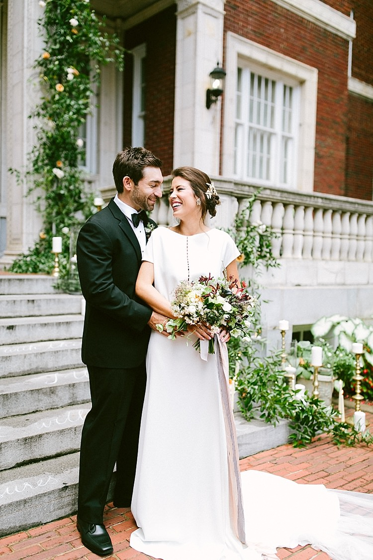 Bride Plain Dress Short Sleeves Groom Black Tie Modern Elegance Marble Greenery Gold Wedding Ideas http://www.jettwalkerphotography.com/