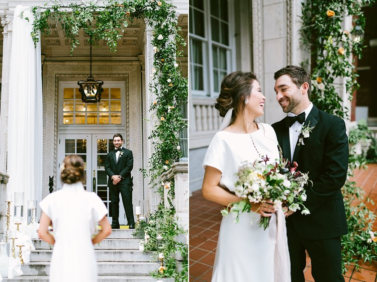 Bride Groom First Look Steps Stone Candles Gold Greenery Laughter Short Sleeve Plain Dress Buttons Modern Elegance Marble Greenery Gold Wedding Ideas http://www.jettwalkerphotography.com/