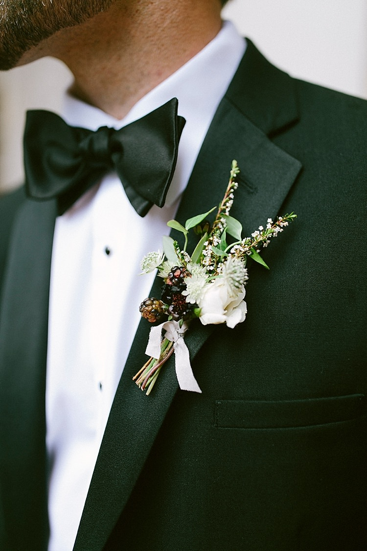 Groom Black Tie Button Hole Berries White Modern Elegance Marble Greenery Gold Wedding Ideas http://www.jettwalkerphotography.com/