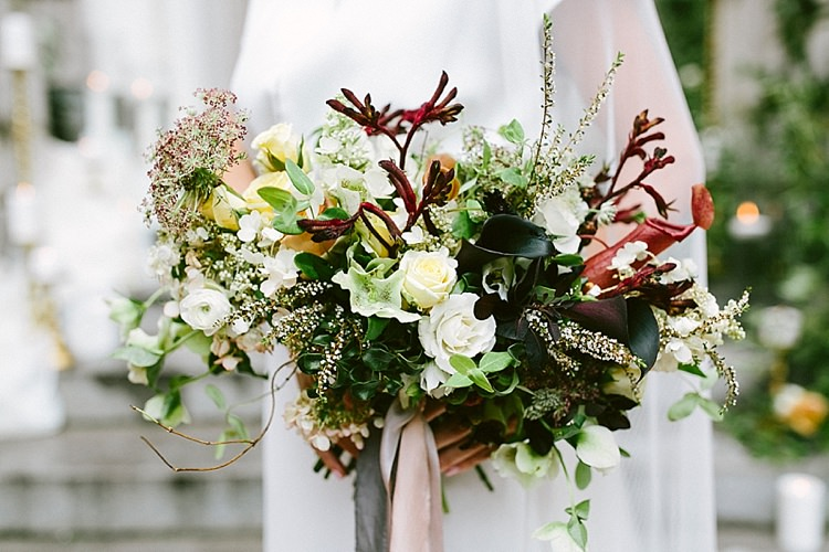 Black Lilies White Roses Greenery Bouquet Modern Elegance Marble Greenery Gold Wedding Ideas http://www.jettwalkerphotography.com/
