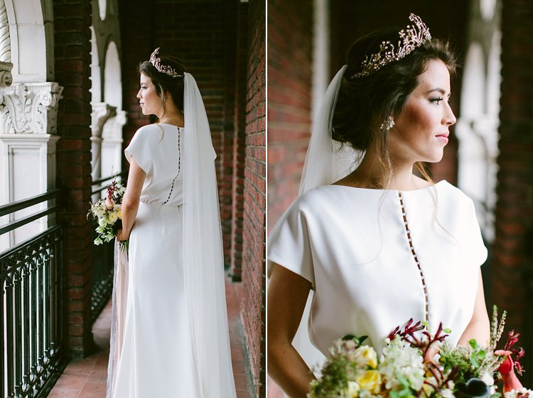 Bride Long Veil Up Do Short Sleeve Dress Plain Buttons Headpiece Tiara Bouquet Modern Elegance Marble Greenery Gold Wedding Ideas http://www.jettwalkerphotography.com/
