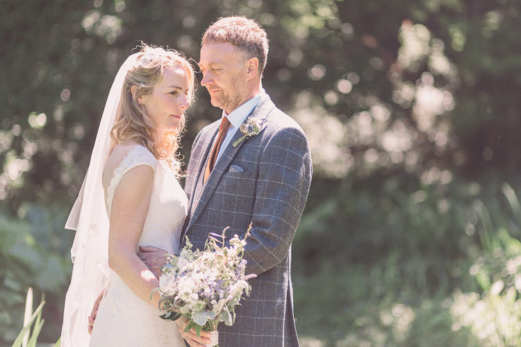 Kate Walker Bride Bridal Dress Gown Veil Moss Bros Groom Tweed Three Piece Waistcoat Relaxed Outdoor Marquee Farm Wedding http://www.jenniferjanephotography.co.uk/