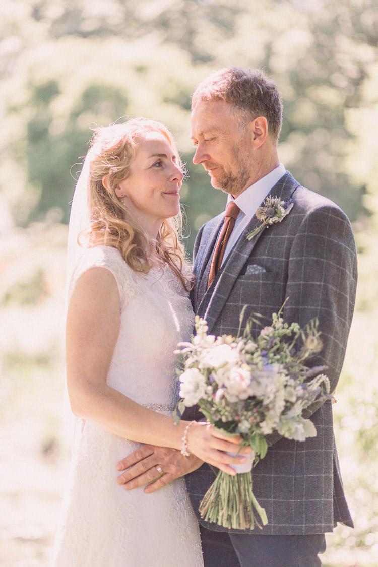 Kate Walker Bride Bridal Dress Gown Veil Moss Bros Groom Tweed Three Piece Waistcoat Relaxed Outdoor Marquee Farm Wedding http://www.jenniferjanephotography.co.uk/