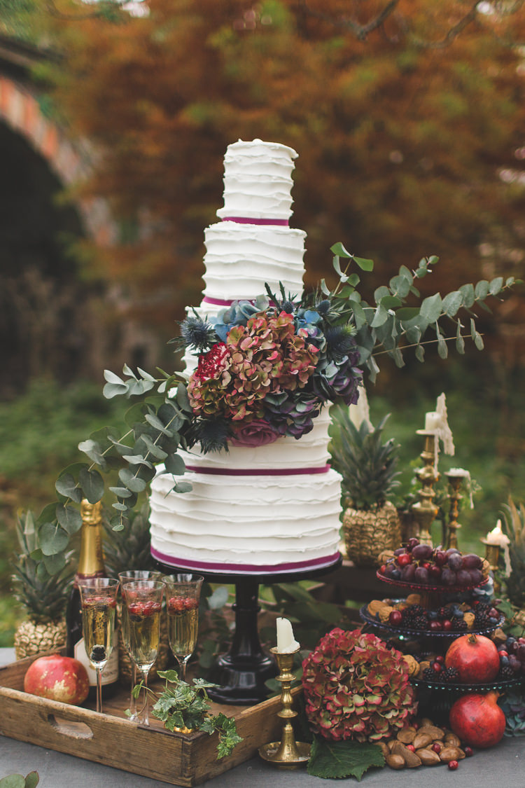 Buttercream Cake Ribbon Foliage Classic http://www.kirstymackenziephotography.co.uk/