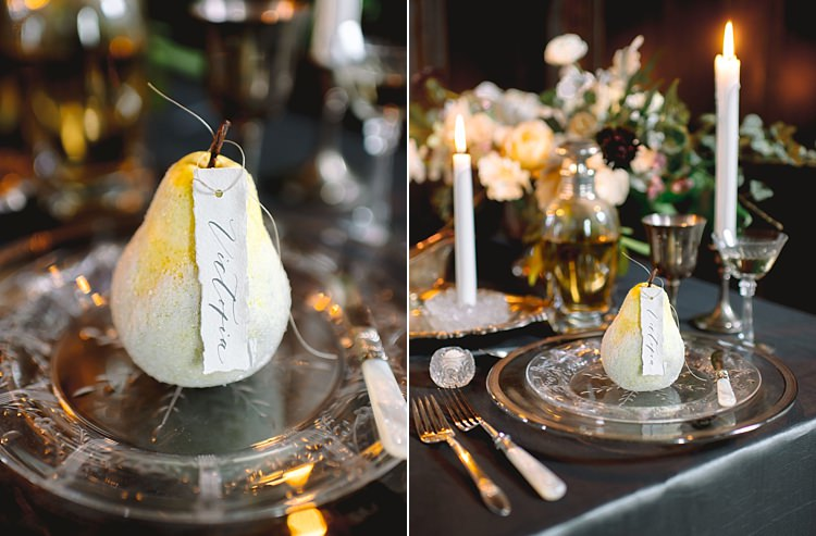 Place Settings Moody Edwardian Winter Wedding Inspiration http://landmhewitt.com/