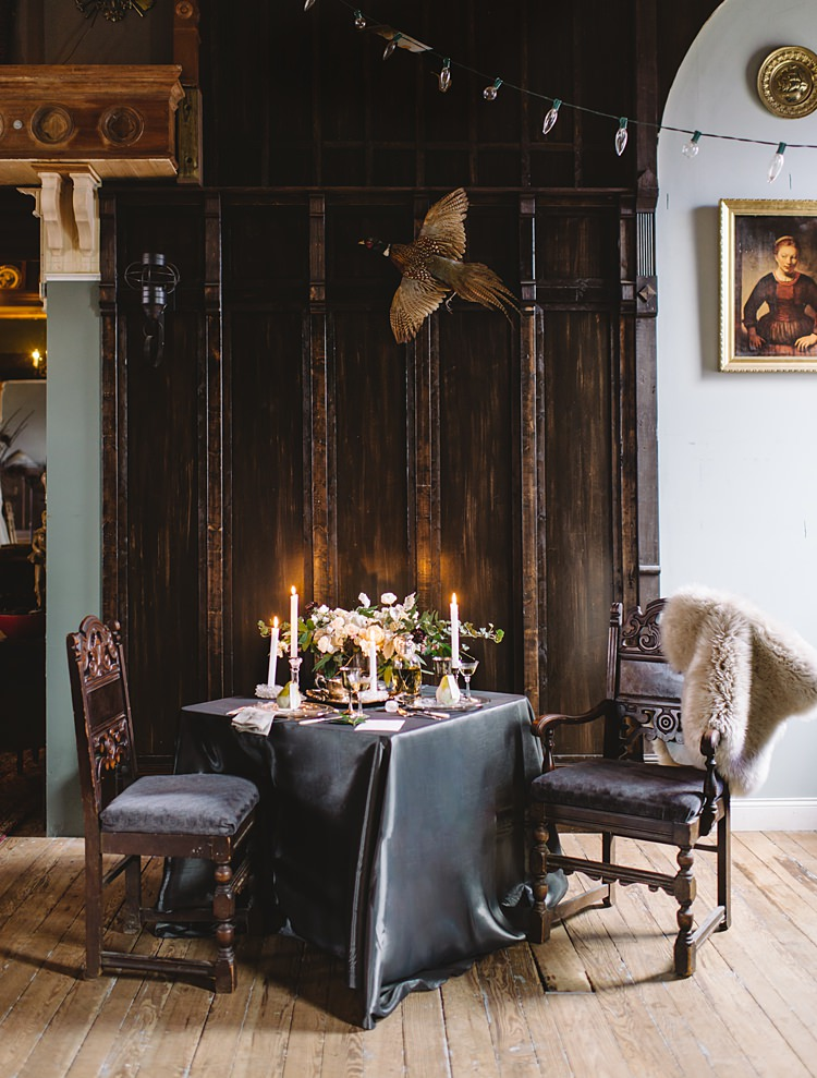 Table Decor Moody Edwardian Winter Wedding Inspiration http://landmhewitt.com/