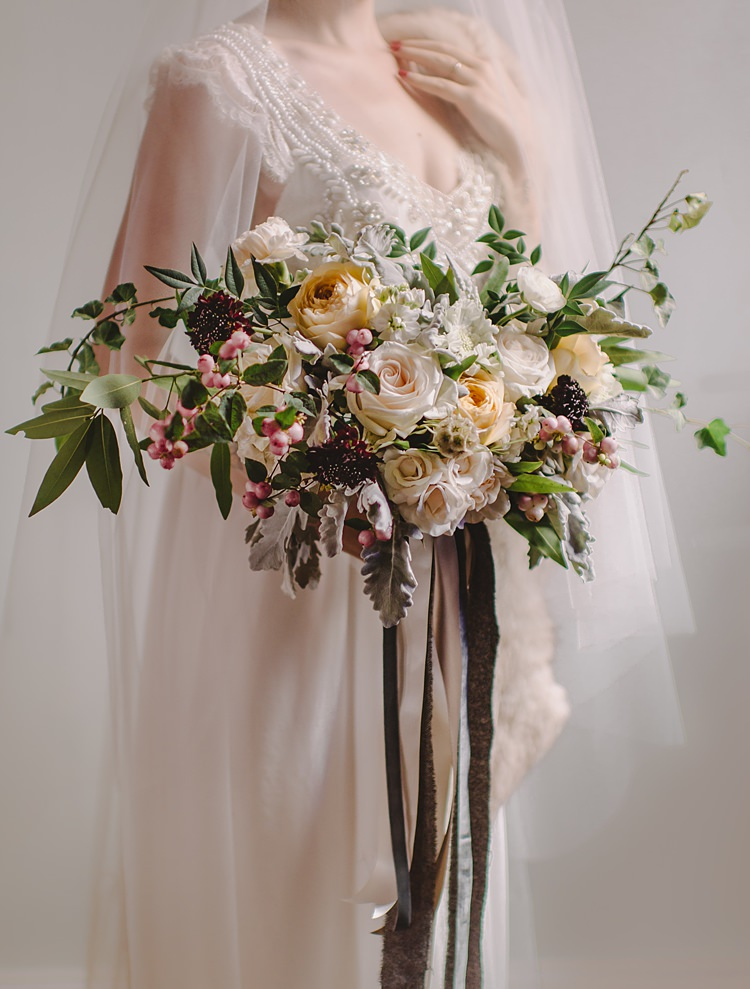 Bouquet Berry Moody Edwardian Winter Wedding Inspiration http://landmhewitt.com/