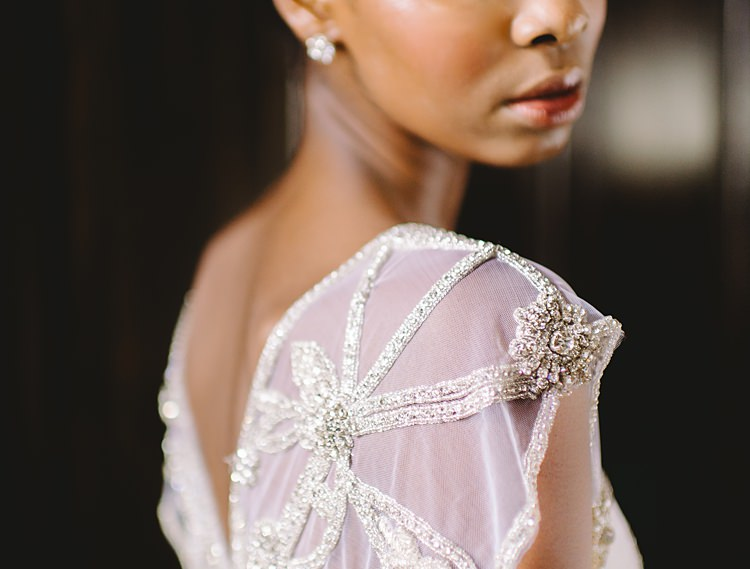 Bride Shoulder Detail Moody Edwardian Winter Wedding Inspiration http://landmhewitt.com/
