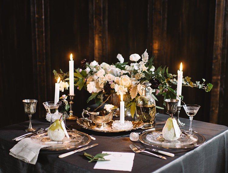Table Settings Moody Edwardian Winter Wedding Inspiration http://landmhewitt.com/