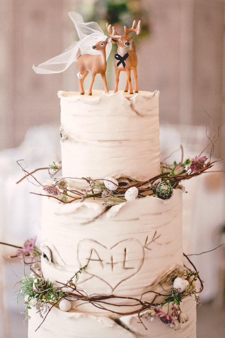 Buttercream Rustic Log Cake Deer Couple Topper Twigs Mini Eggs Graffiti Initials http://emmastonerweddings.com/