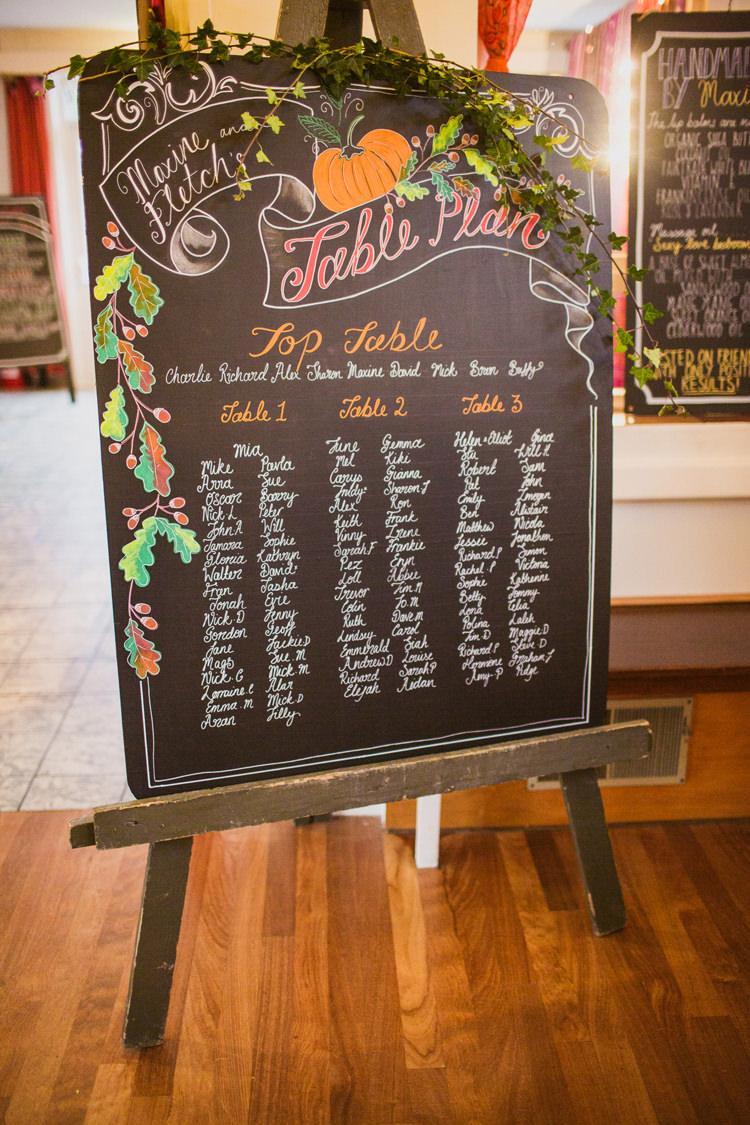 Autumn Inspiration Table Plan Seating Chart Pumpkins Chalk Board Easel http://kathrynedwardsphotography.com/