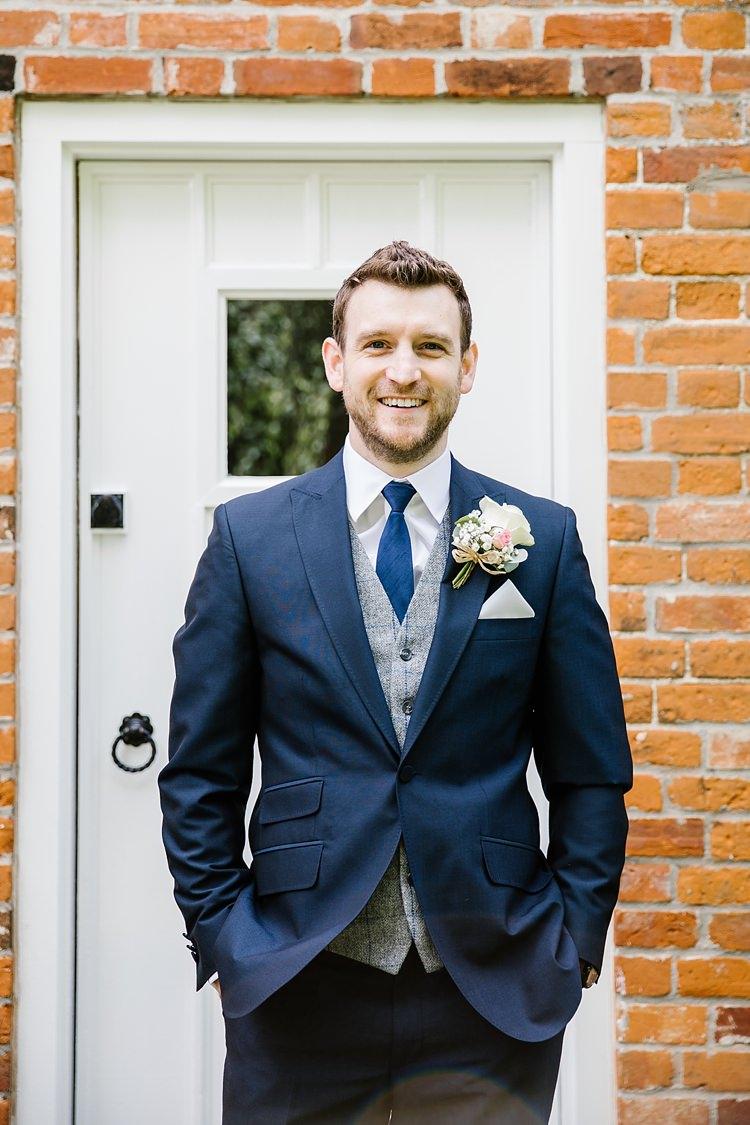Navy Suit Tie Check Grey Waistcoat Groom Graceful Country Cottage Garden Wedding https://katherineashdown.co.uk/