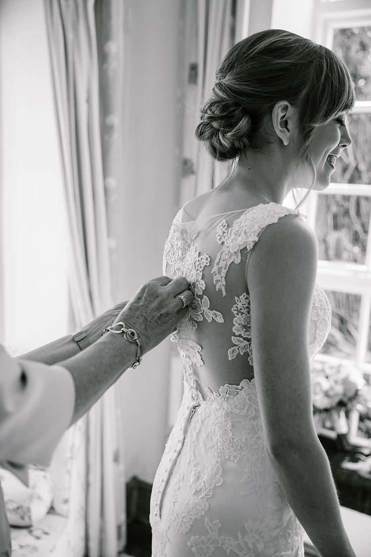 Illusion Lace Gown Back Bride Bridal Maggie Sottero Graceful Country Cottage Garden Wedding https://katherineashdown.co.uk/