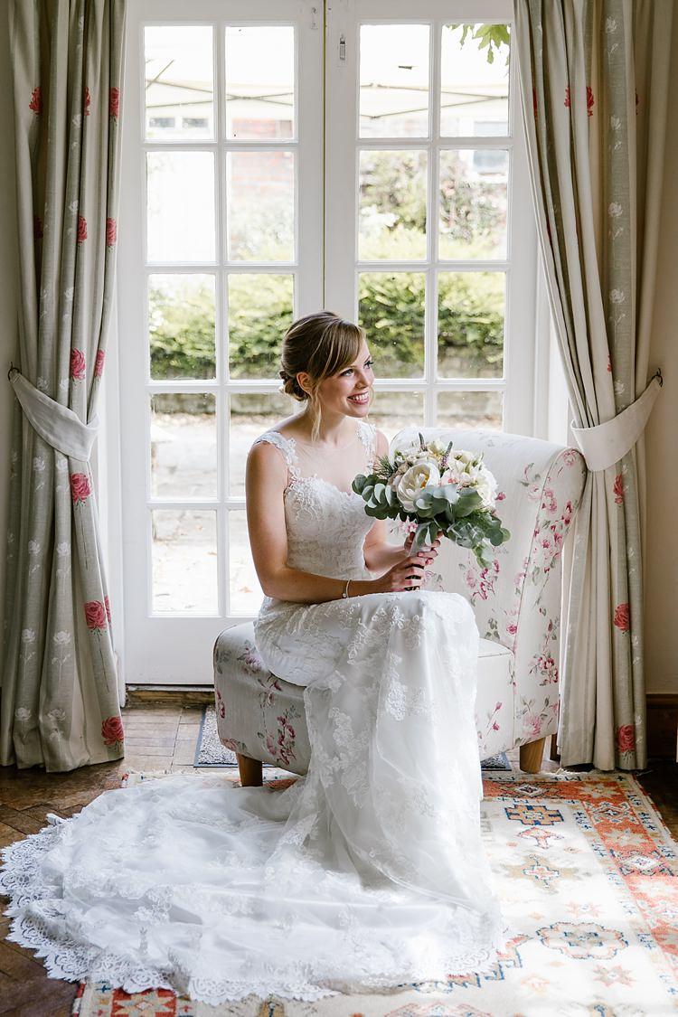 Lace Dress Gown Bride Bridal Train Graceful Country Cottage Garden Wedding https://katherineashdown.co.uk/