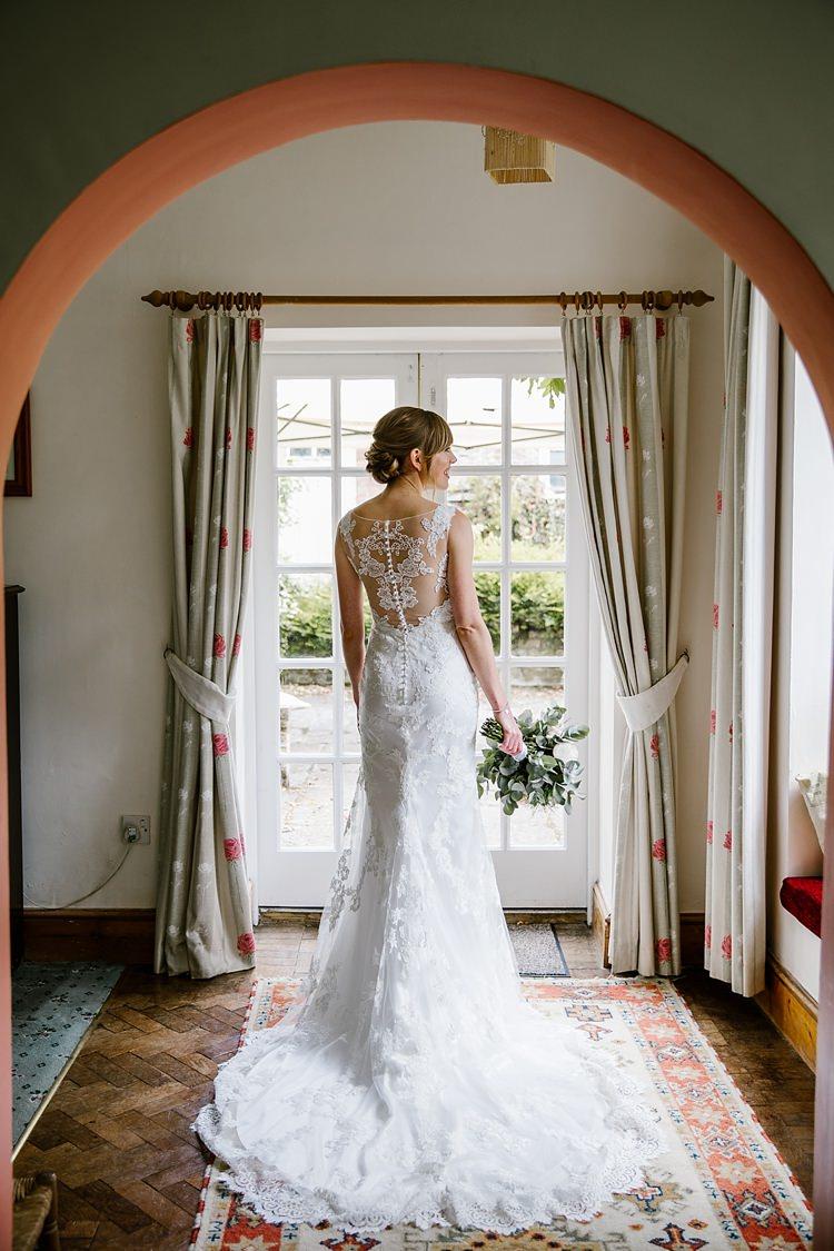 Lace Dress Gown Bride Bridal Back Low Illusion Train Graceful Country Cottage Garden Wedding https://katherineashdown.co.uk/