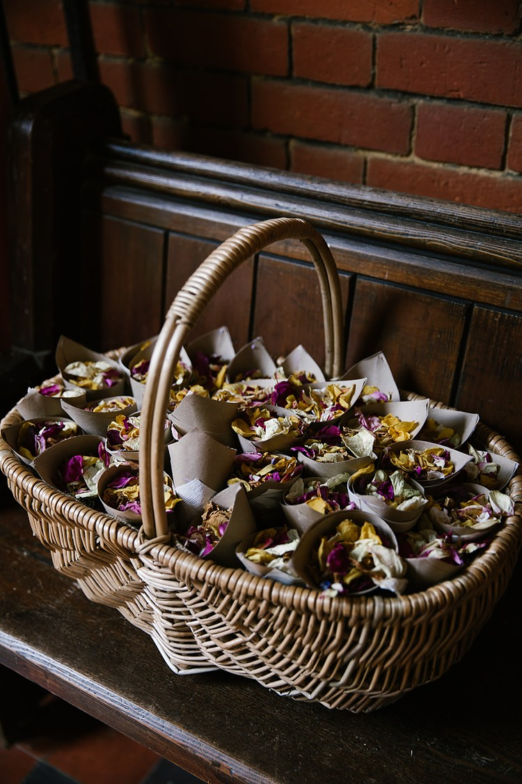 Confetti Cones Basket Petals Graceful Country Cottage Garden Wedding https://katherineashdown.co.uk/