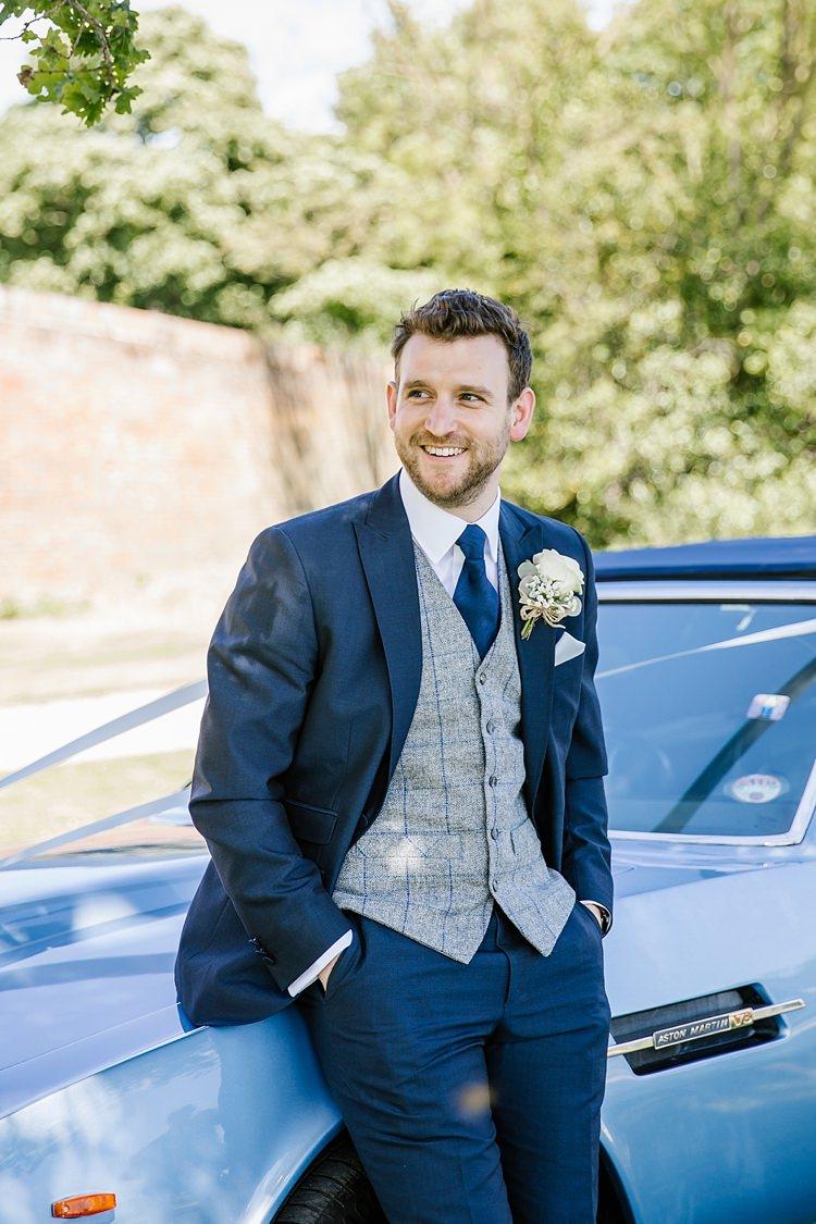Groom Navy Suit Grey Waistcoat Graceful Country Cottage Garden Wedding https://katherineashdown.co.uk/