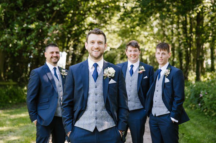 Groom Groomsmen Navy Suits Grey Waistcoat Graceful Country Cottage Garden Wedding https://katherineashdown.co.uk/