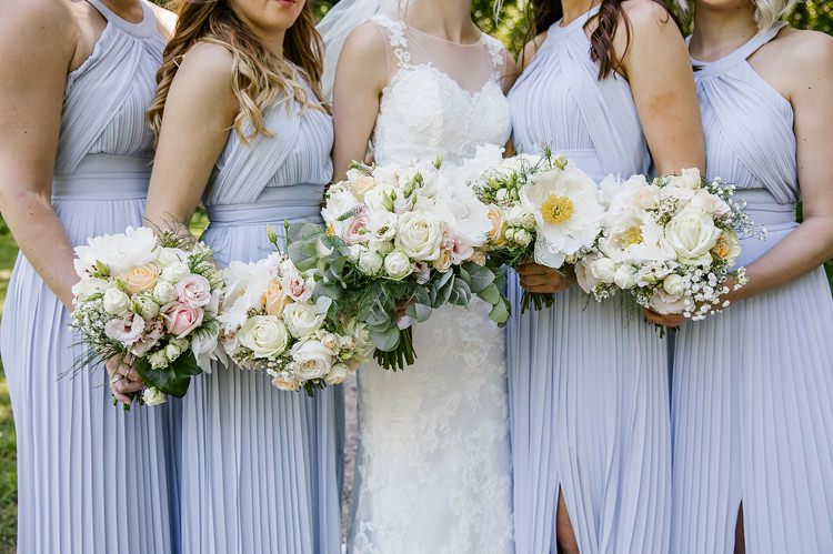 White Pale Pink Flowers Bouquets Peony Rose Bride Bridesmaid Graceful Country Cottage Garden Wedding https://katherineashdown.co.uk/