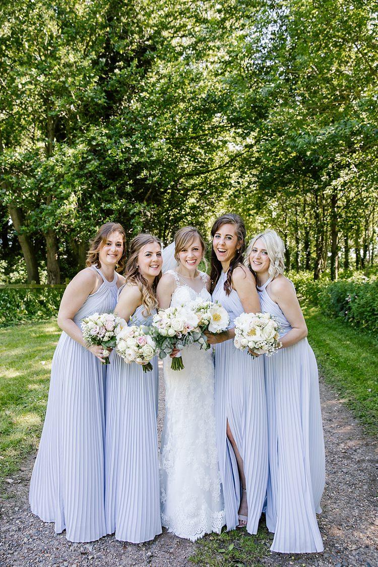 Long Grey Bridesmaid Dresses Pleats Split Graceful Country Cottage Garden Wedding https://katherineashdown.co.uk/