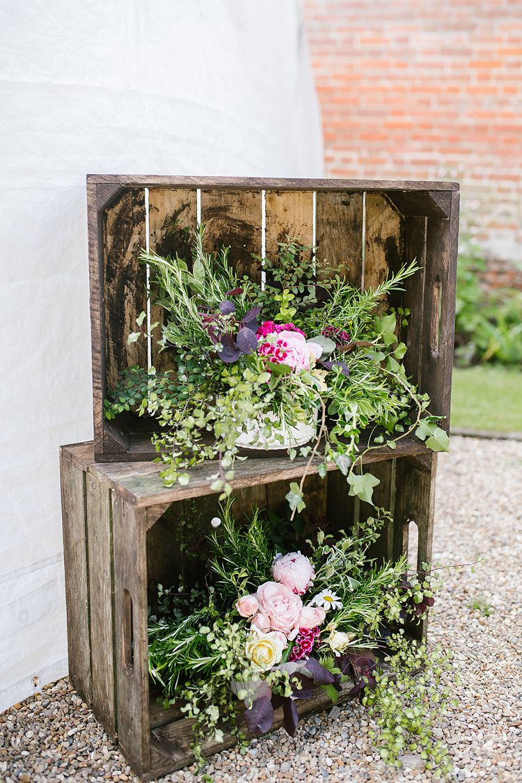 Crate Decor Flowers Graceful Country Cottage Garden Wedding https://katherineashdown.co.uk/