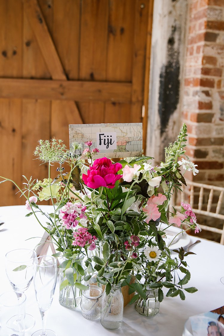 Flowers Centrepiece Place Table Names Countries Graceful Country Cottage Garden Wedding https://katherineashdown.co.uk/