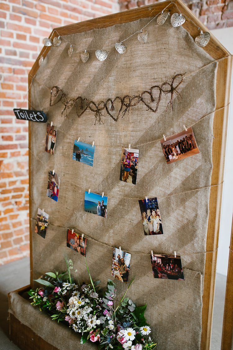 Hessian Peg Frame Photo Wall Graceful Country Cottage Garden Wedding https://katherineashdown.co.uk/