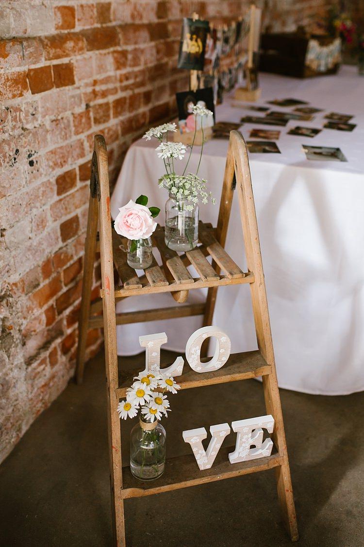 Wooden Ladder Decor Flowers Graceful Country Cottage Garden Wedding https://katherineashdown.co.uk/