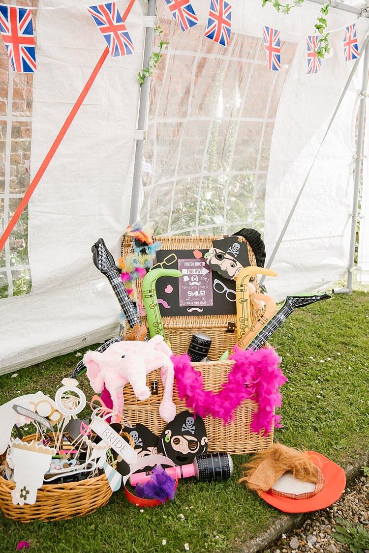 Photo Booth Props Hamper Graceful Country Cottage Garden Wedding https://katherineashdown.co.uk/