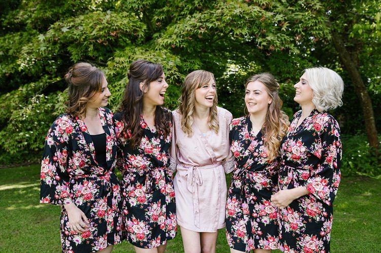 Floral Dressing Gowns Bride Bridesmaids Graceful Country Cottage Garden Wedding https://katherineashdown.co.uk/