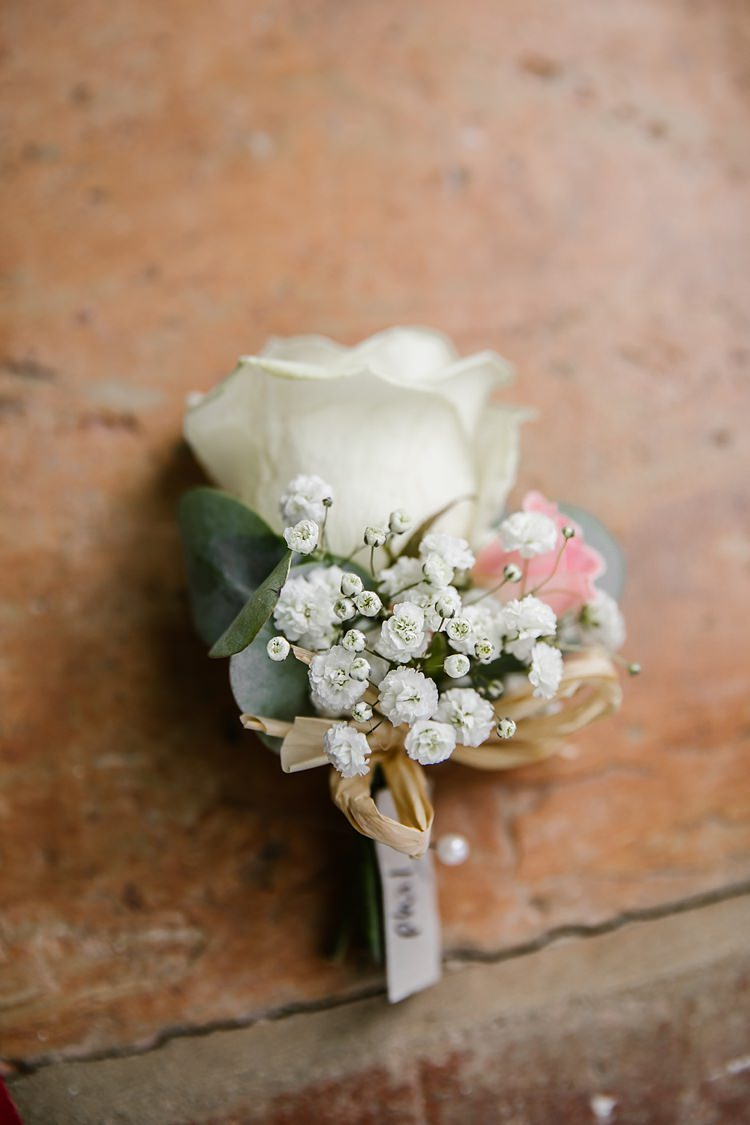 Buttonhole Groom Rose Gypsophila Graceful Country Cottage Garden Wedding https://katherineashdown.co.uk/