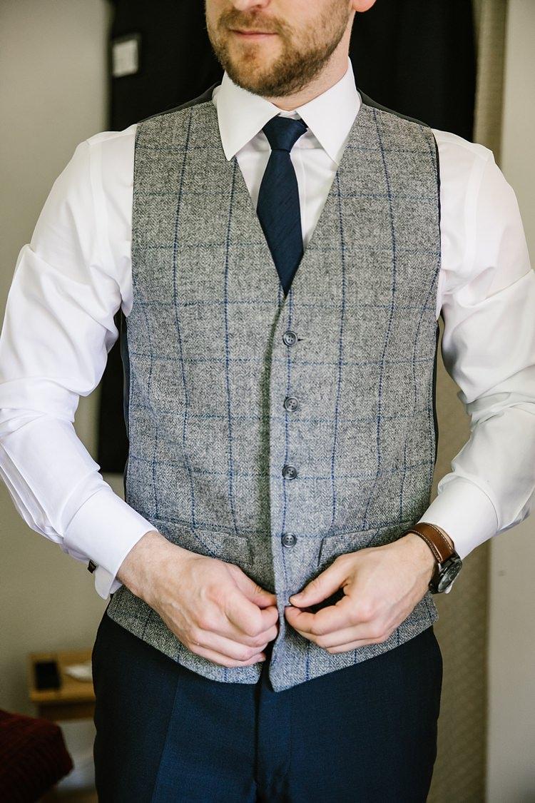 Grey Check Waistcoat Groom Graceful Country Cottage Garden Wedding https://katherineashdown.co.uk/