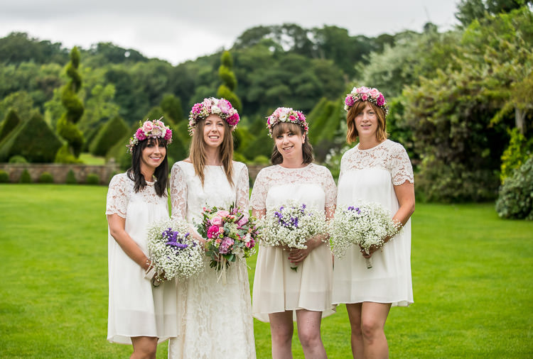 Short White Lace Bridesmaid Dresses Quirky Natural Outdoor Festival Wedding http://lighteningphotography.co.uk/