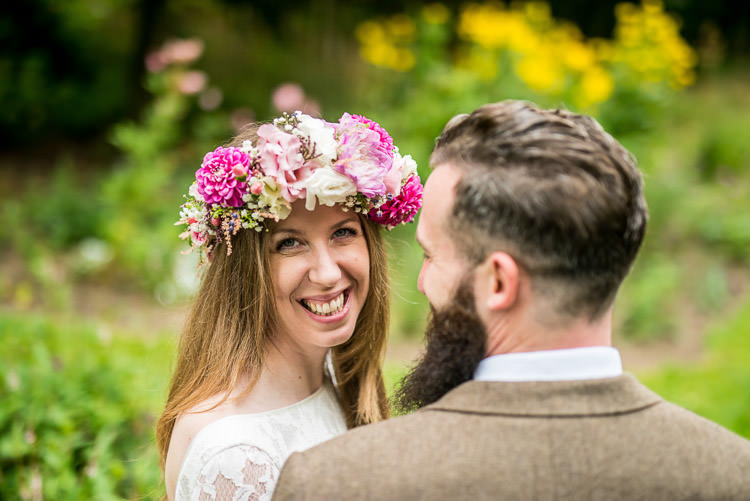 Flower Crown Bride Bridal Quirky Natural Outdoor Festival Wedding http://lighteningphotography.co.uk/