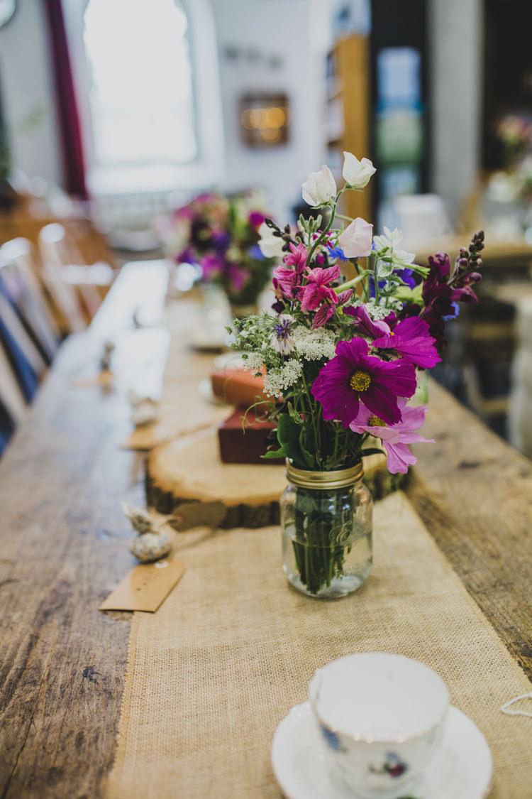Jar Flowers Wild Table Centrepiece Hessian Quaint Floral Antique Rustic Wedding http://www.larissajoice.co.uk/