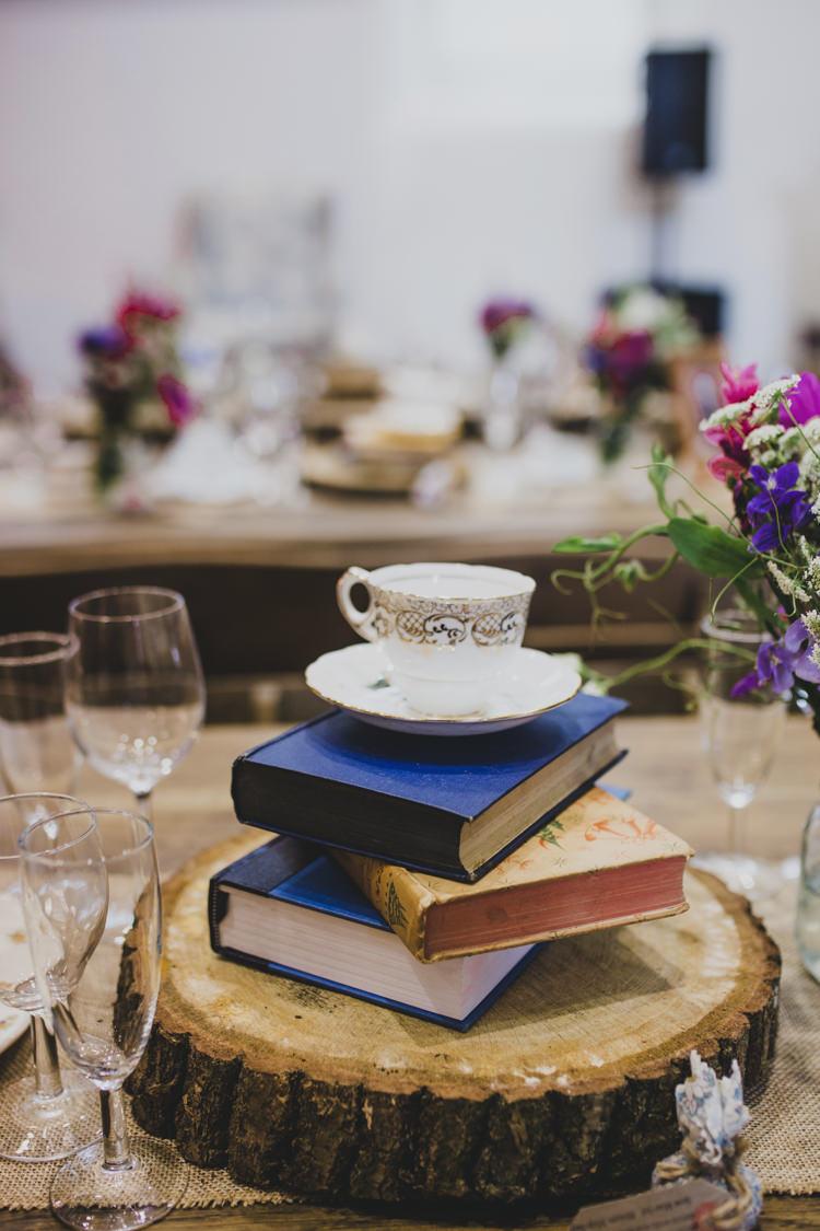 Log Decor Books Tea Cup Decor Tables Quaint Floral Antique Rustic Wedding http://www.larissajoice.co.uk/