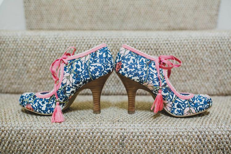 Floral Print Shoes Blue Pink Tassels Bride Bridal Quaint Floral Antique Rustic Wedding http://www.larissajoice.co.uk/
