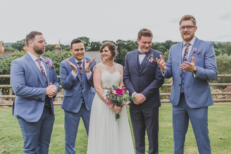 Groom Grooms Men Floral Bow Ties Blue Suits Quaint Floral Antique Rustic Wedding http://www.larissajoice.co.uk/