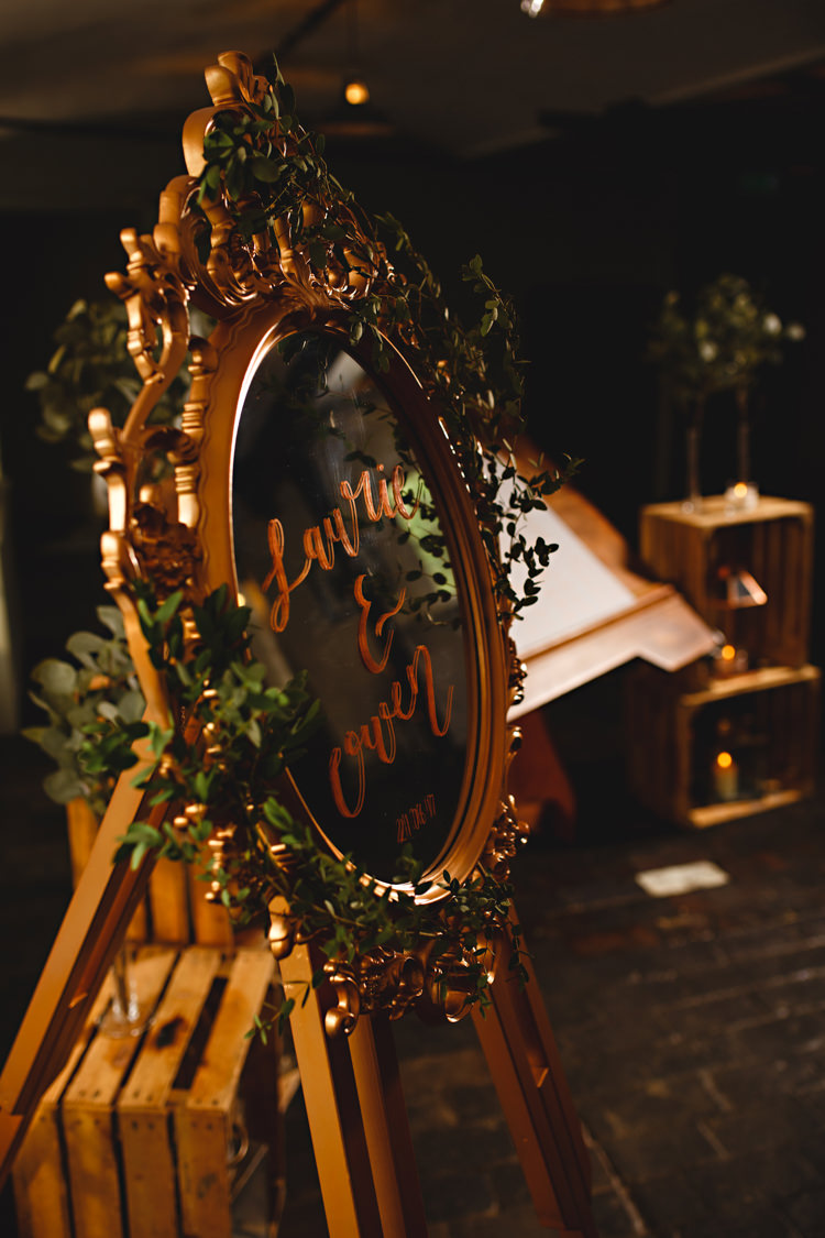 Mirror Sign Calligraphy Industrial Rose Gold Dove Grey Greenery Wedding http://hbaphotography.com/