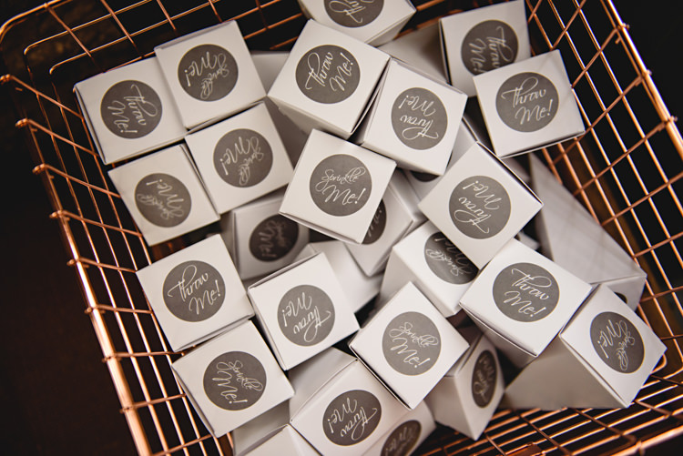 Confetti Boxes Wire Basket Industrial Rose Gold Dove Grey Greenery Wedding http://hbaphotography.com/