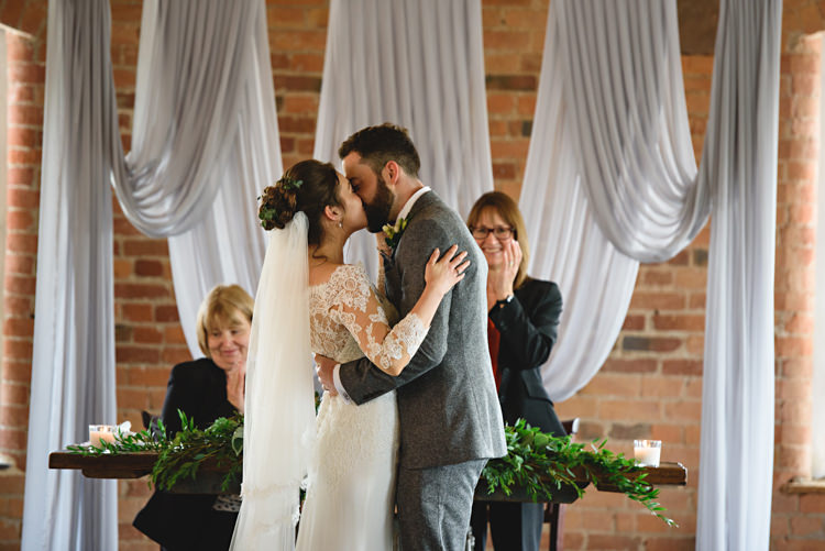 Drapes Swag Fabric Backdrop Ceremony Industrial Rose Gold Dove Grey Greenery Wedding http://hbaphotography.com/