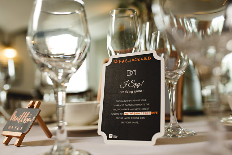 I Spy Game Table Ideas Industrial Rose Gold Dove Grey Greenery Wedding http://hbaphotography.com/