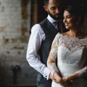 Industrial Rose Gold & Dove Grey Greenery Wedding