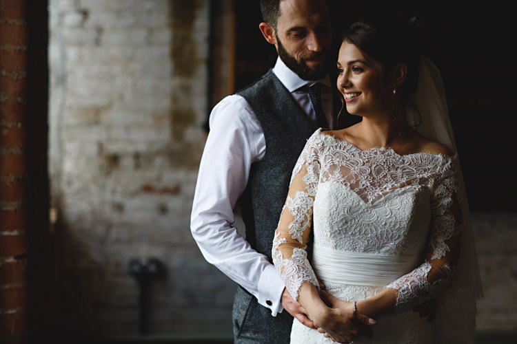 Lace Sleeve Off Shoulder Dress Gown Bride Bridal Industrial Rose Gold Dove Grey Greenery Wedding http://hbaphotography.com/