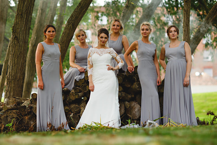 Long Maxi Bridesmaid Dresses Industrial Rose Gold Dove Grey Greenery Wedding http://hbaphotography.com/