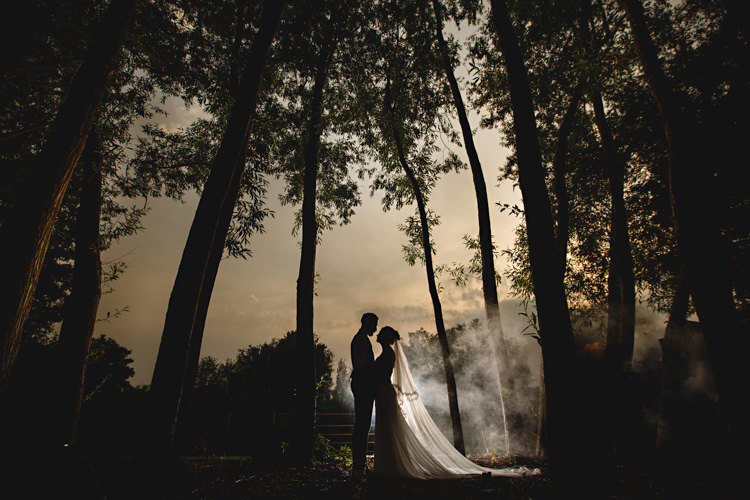 Smoke Bomb Portrait Bride Groom Industrial Rose Gold Dove Grey Greenery Wedding http://hbaphotography.com/